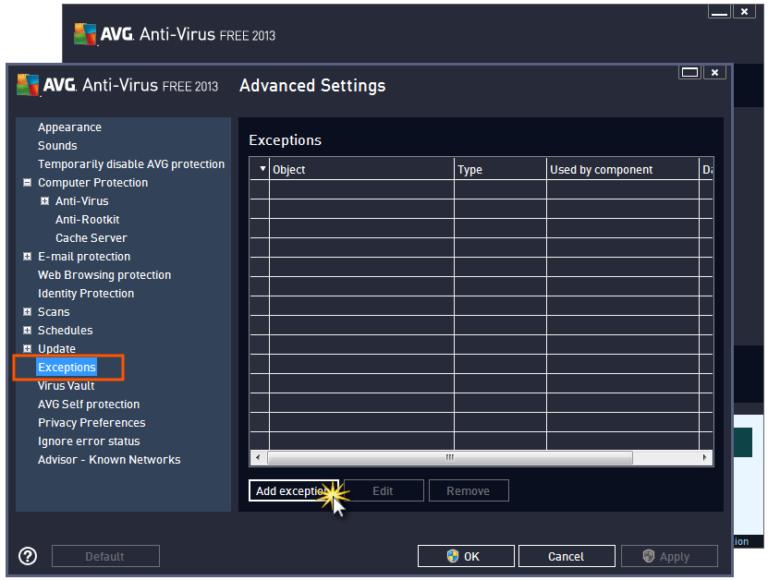 Ajouter une exclusion à AVG Antivirus – Astuce de Geek